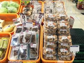 """岡山県内のスーパーで販売されている生キクラゲと生シイタケ。<br /> &rarr;<a href=""""/blog/blog_detail/index/149.html"""">岡山県内での取り扱いスーパー・店舗一覧はこちらから。</a>"""